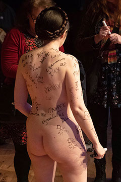 Victoria Bateman Naked Brexit Protest Lecture Cambridge Petition Signed